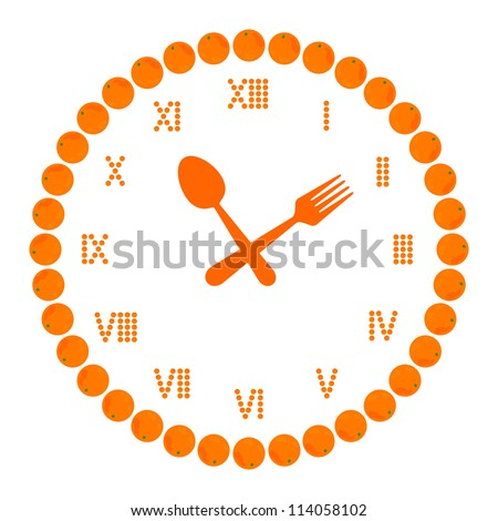 diet time (orange fruit in clock symbol isolated on white). vector illustration