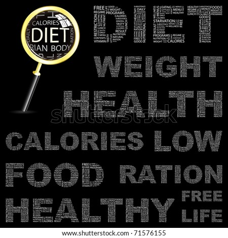 DIET. Word collage on black background. Vector illustration. Illustration with different association terms. - stock vector