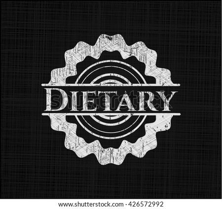 Dietary chalkboard emblem on black board