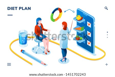 Dietician and woman patient for smartphone dietology application. Dietitian doctor consultation about balanced vegetable diet or weight loss. Isometric page for food and nutrition, healthcare. Dieting