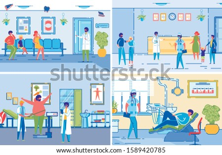 Dieticians or Nutritionists Specialists in Healthcare Clinic Interiors Accepting VIsitors. Medical Assistance to Overweight Patients in Weight Loosing. Flat Cartoon Vector Illustrations Set.