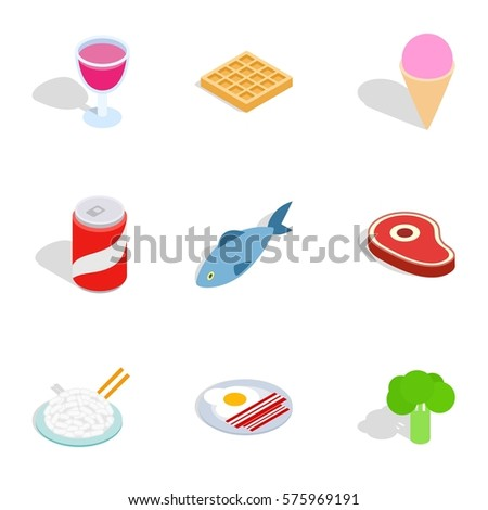dieting meal icons set
