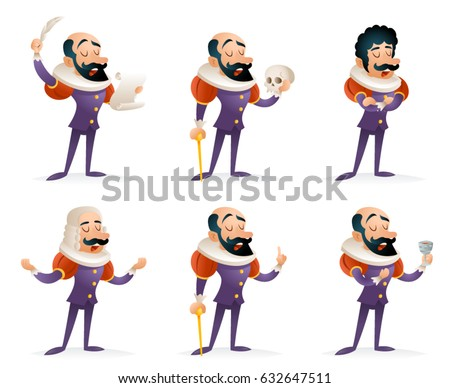 Shutterstock Different Actions Icons Set Actor Theater Stage Man Characters Medieval Cartoon Design Template Vector Illustration