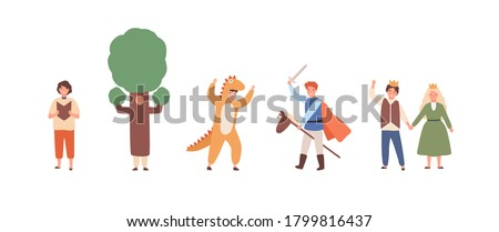 Different actors of children theater in costumes set vector flat illustration. Collection of various fairytale characters isolated on white. Funny people in colorful carnival apparel at theme party