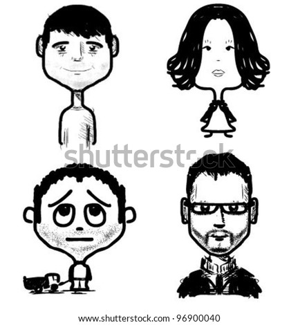 Different age people set. Fast drawing sketch vector illustration