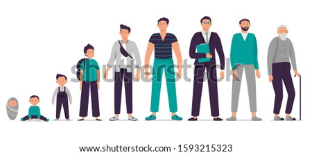 Different ages male character. Child, young boy, teenager, adult man and old senior vector illustration set. Person growing up, aging process stages. Happy man life cycle from infancy to senility Stock photo ©