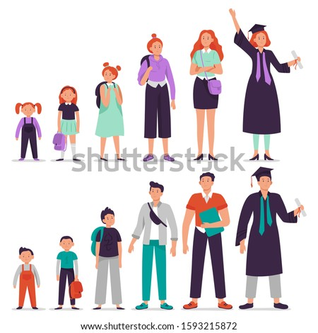 Different ages students. Little boy and girl, primary and secondary school student, teenage students and college graduate persons vector illustration set. Education phases from kindergarten to college Сток-фото ©