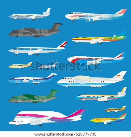 Different airplane aircraft set. Personal airplane, cargo. Side view illustration.