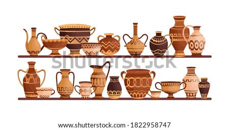 Different ancient greek ceramic dishware on shelves vector flat illustration. Clay pots, vases, amphoras, jars and bowls decorated by Hellenic ornaments isolated. Storage of archaeological artefacts Stock foto ©