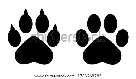 Different animal paw . Paw Prints. Black paw .Paw icon vector illustration isolated on white background. Dog, cat, bear, wolf . Legs. Foot prints. Photo stock ©