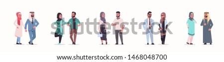 different arabic business couple standing together arab man woman wearing traditional clothes arabian cartoon characters collection full length flat white background horizontal banner