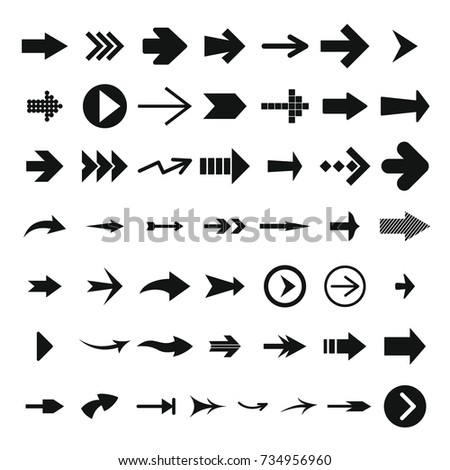 Different arrow icon set. Simple illustration of 50 different arrow vector icons for web