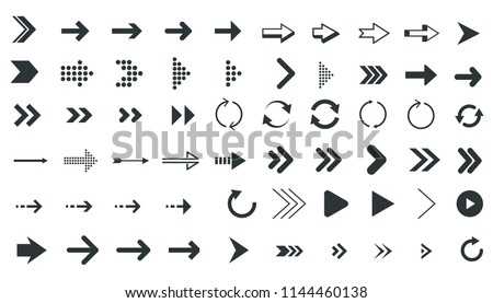 Different Arrow Shape Icons Collection