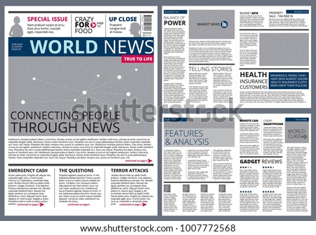 Different articles in newspaper. Vector design template with place for your text. Newspaper article, press page print illustration - Shutterstock ID 1007772568