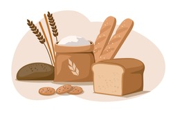 Different bakery products on white background. Vector Illustration
