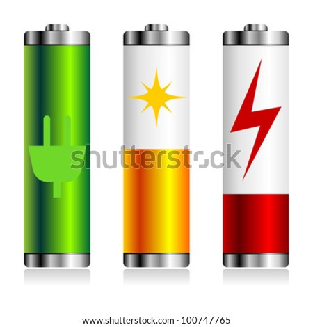 Different batteries charge symbols over white background