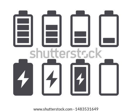 Different battery capacity charge icons with full and low status