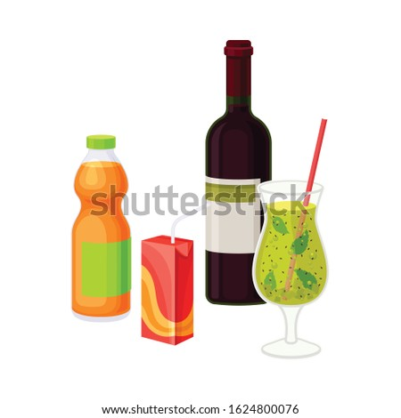 Different Beverages in Bottle and Carton Vector Illustrated Composition