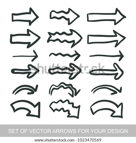 Different black Arrows icons, vector set. Abstract elements for business infographic. Up and down trend. Illustrations for Web Design #1023470569