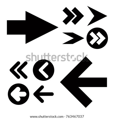 Different black Arrows icons,vector set. Abstract elements for business infographic. Up and down trend