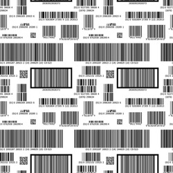 Different black barcodes on white, seamless pattern