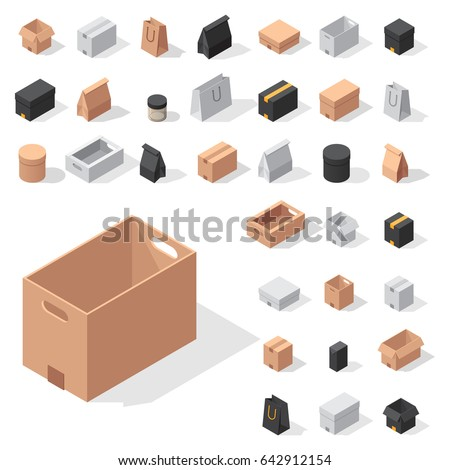 Different box vector isometric icons isolated move service or gift container packaging illustration