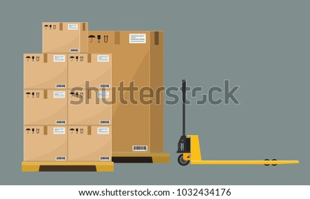 Different Boxes on wooded pallet vector illustration, flat and solid style warehouse cardboard parcel boxes stack front view.