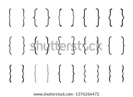 Different brackets set. Vector illustration