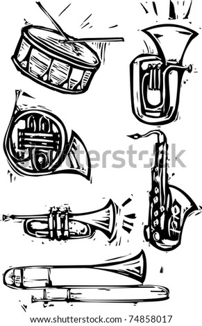 Different brass instruments and a drum, Saxophone, French horn, trumpet, trombone, tuba - stock vector