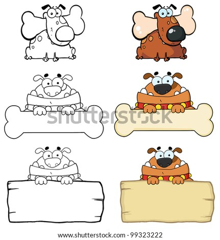 Different Breed Of Dogs And Blank Sign. Vector Collection