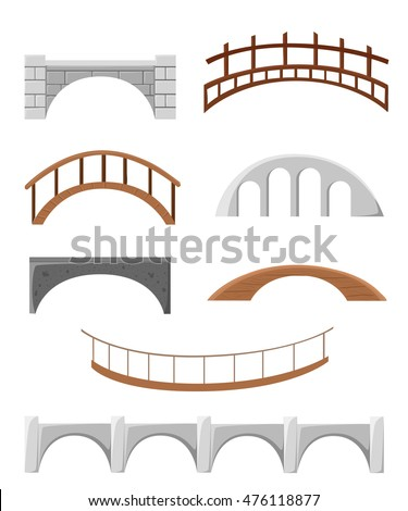 different bridges isolated on
