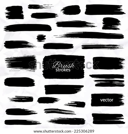 Different brush strokes on white background Isolated objects Set of design elements Vector illustration