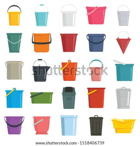 Different buckets flat set isolated on white background. Illustration of bucket and containers, pail with handle ストックフォト ©