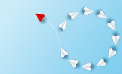 Different business concept.Red paper plane changing direction from white paper plane. new ideas. paper art style. creative idea. vector ,illustration.