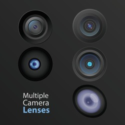Different camera lenses, hi tech innovation and cutting edge technology- vector illustration