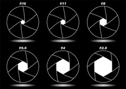 Different camera shutter apertures isolated over black