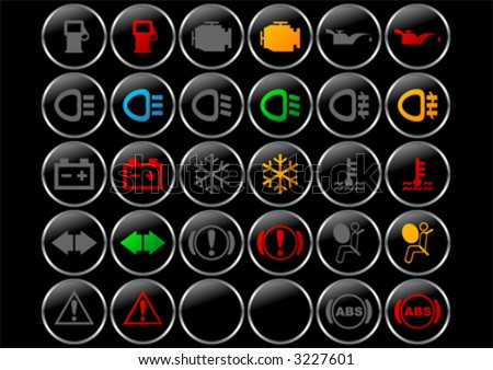 Different Car Dashboard Symbols With Lights On And Off