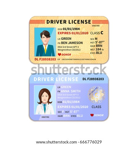 DIfferent car driver licenses with photo isolated on white