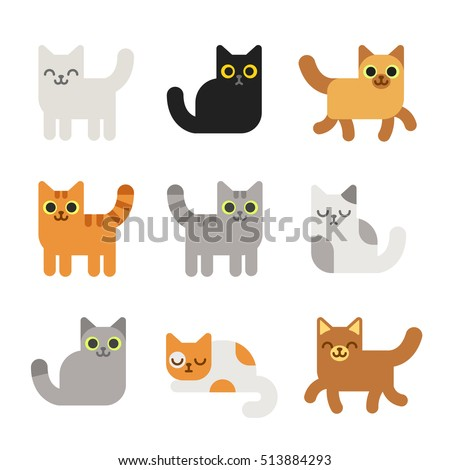 Shutterstock Different cartoon cats set. Simple modern geometric flat style vector illustration.