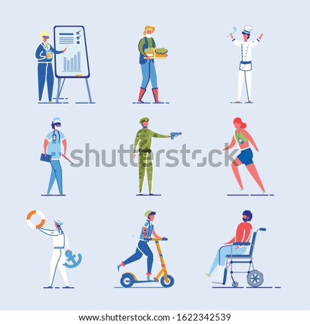 Different Characters Set - Athlete and Disabled Person as well as Student and Various Occupations People. Human Diversity and Modern Lifestyle Personages Collection. Flat Vector Illustration Isolated.