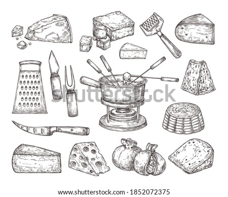 Different cheese. Recipe ingredients, fondue meal sketch and cutlery. Hand drawn parmesan gouda edam cheddar, dinner lunch exact vector set. Illustration cheese meal piece, mozzarella delicious