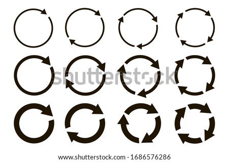 different circular arrows of black color, different thickness
