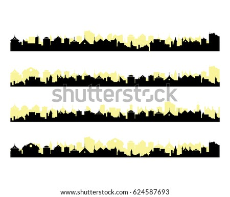 different city silhouettes