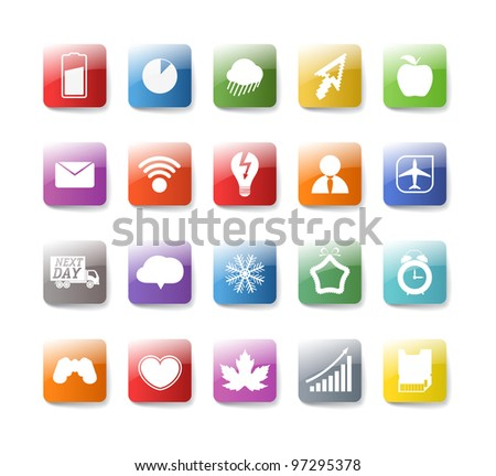 Different color buttons collection isolated on white - stock vector