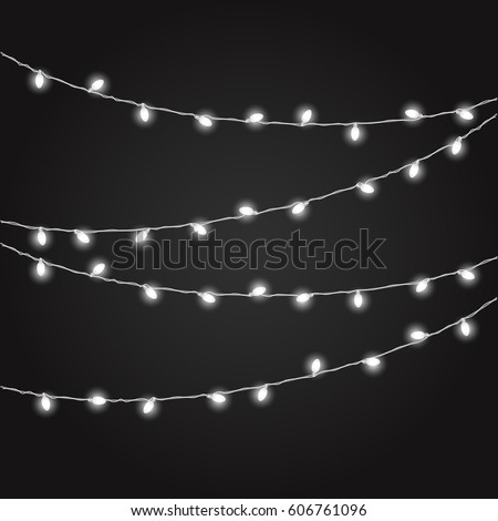 Different color lighting garland vector set on dark background. Christmas lights vector collection. Glowing lamps vect or set