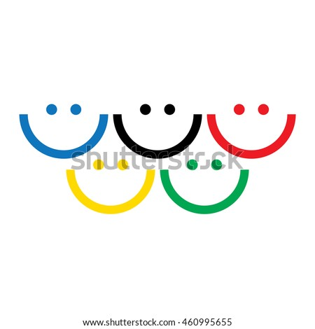 Different color olympic smiles logo. Olympic games rings concept. Vector illustration.