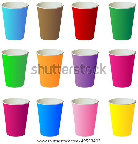 Different color paper cups isolated on white