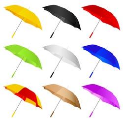 different color umbrellas vector illustration