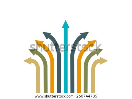Different Colored Arrows Pointing or Moving to Different Directions. Unity in Diversity or Teamwork Business Abstract concept.