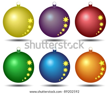 Different colored christmas balls